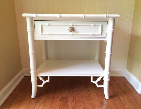Vintage Thomasville Allegro Faux Bamboo Chinoiserie Chic Hollywood Regency  Nightstand End Table Side Table Painted White