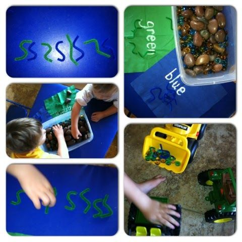 Sensory bin:  digging for worms Sorting, counting, patterns, sensory play, exploration  Mommy.Nanny.Guru.