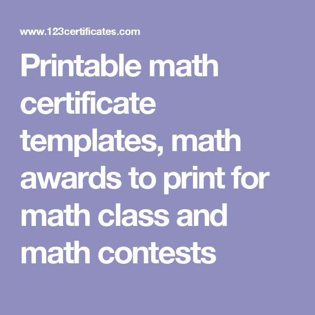 Printable math certificate templates math awards to print for printable math certificate templates math awards to print for math class and math contests yelopaper Image collections