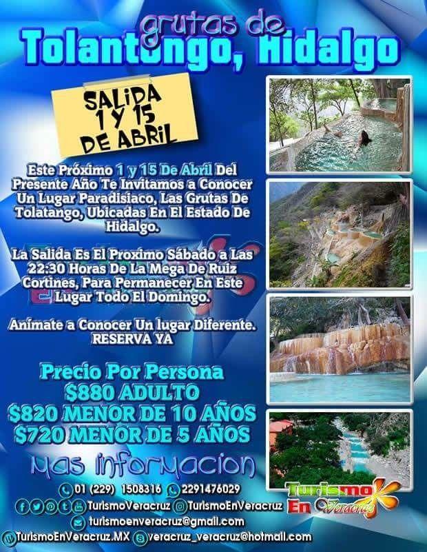 Vamos de #excursión a #Tolantongo este 15 de abril saliendo de #Veracruz #Cardel y #Xalapa 📞01 229 1508316 📱 WhatsApp 2291476029 📨 turismoenveracruz@gmail.com 🌐 http://www.veracruztour.com/tolantongo.htm