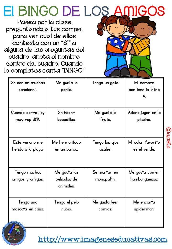 """Actividad para los primeros días de clase """"El BINGO DE LOS AMIGOS ..."""