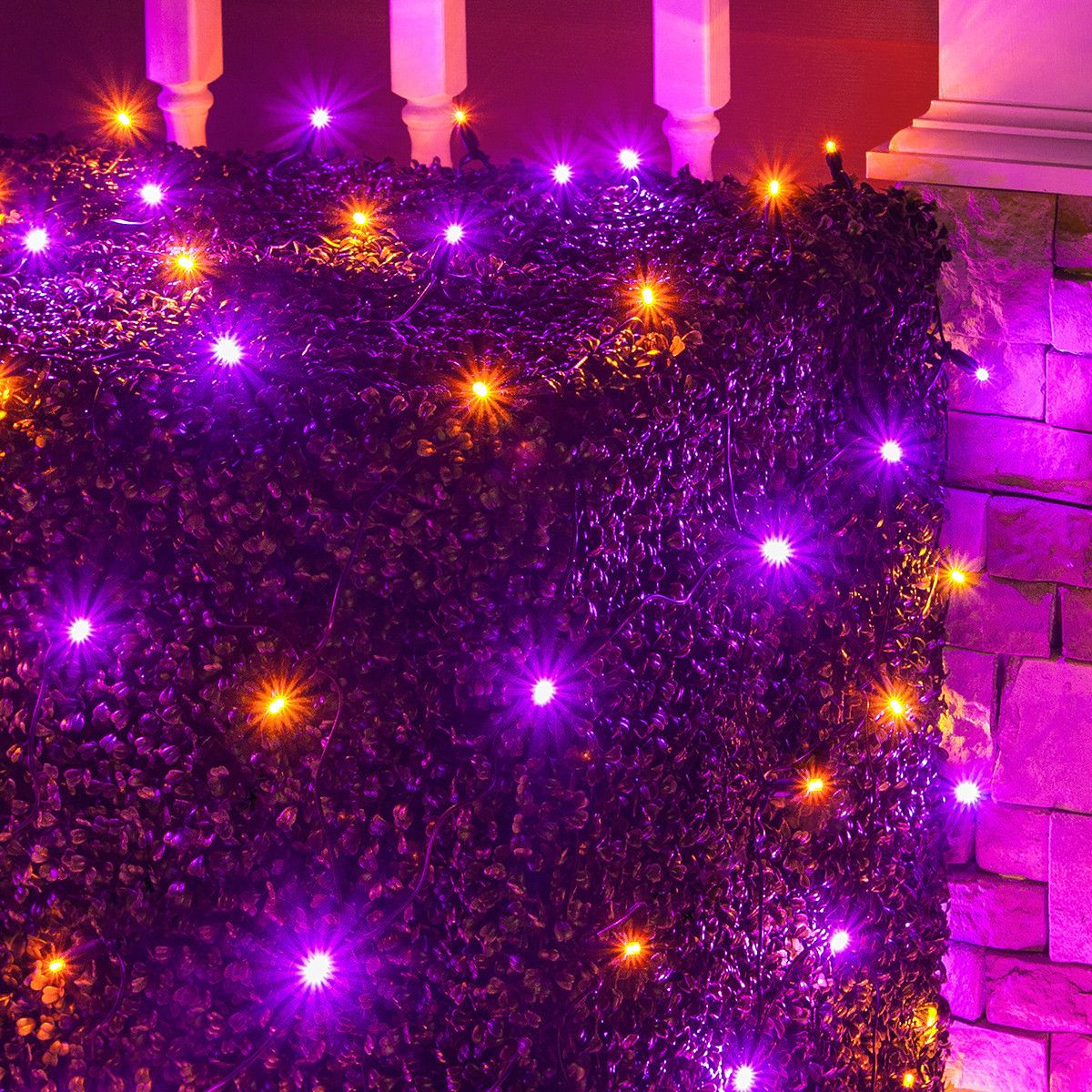 4\' x 6\' Halloween LED Net Lights - 100 Purple, Orange Lamps - Black ...