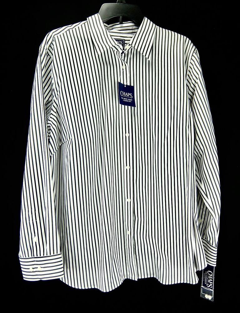 7df586f780c Womens Chaps No-Iron Striped Shirt Black White Button-Down Plus Size 2X   Chaps  ButtonDownShirt  Versatile