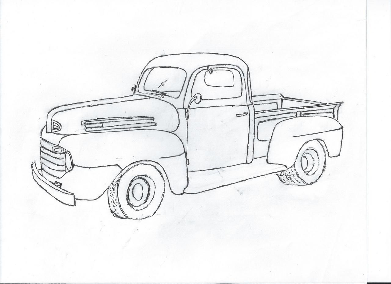 It is an image of Old Fashioned Drawing Front Of Pick Up Truck