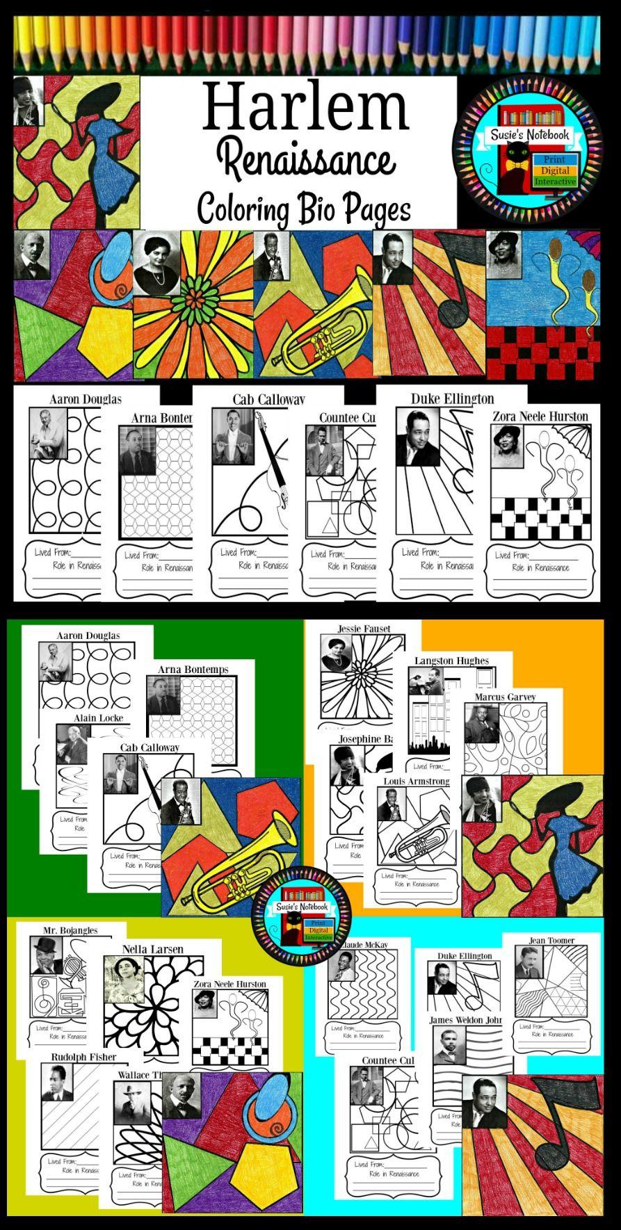Harlem Renaissance Coloring Sheets And Research Activity Harlem Renaissance Harlem Renaissance Activities Renaissance Artworks