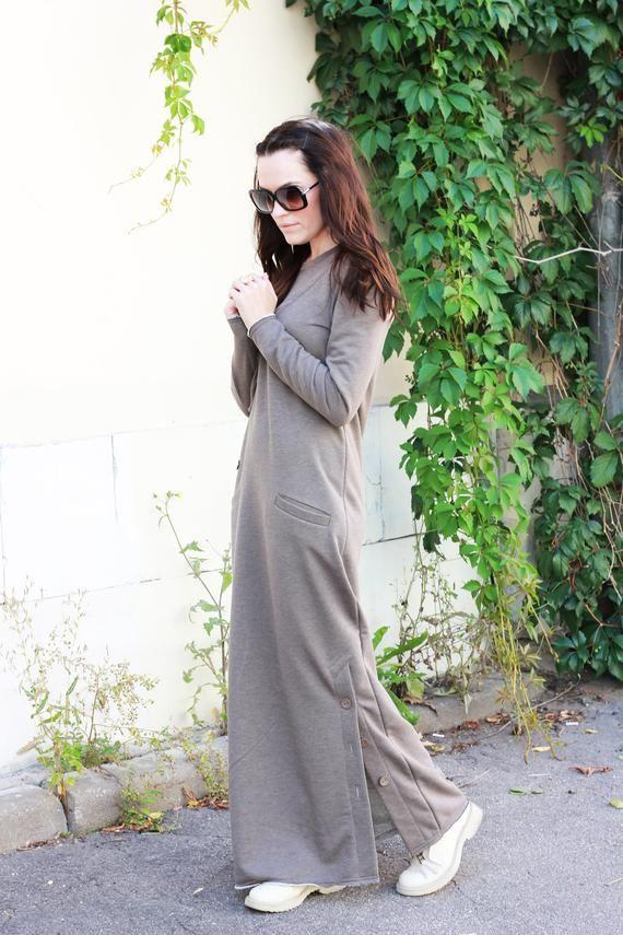 Soft Cotton Dress, Long Dress, Daywear Dress, Casual Dress, Cappuccino Dress, Maxi Dress, Womens Dresses, Holiday Dress, Long Sleeves,R00092
