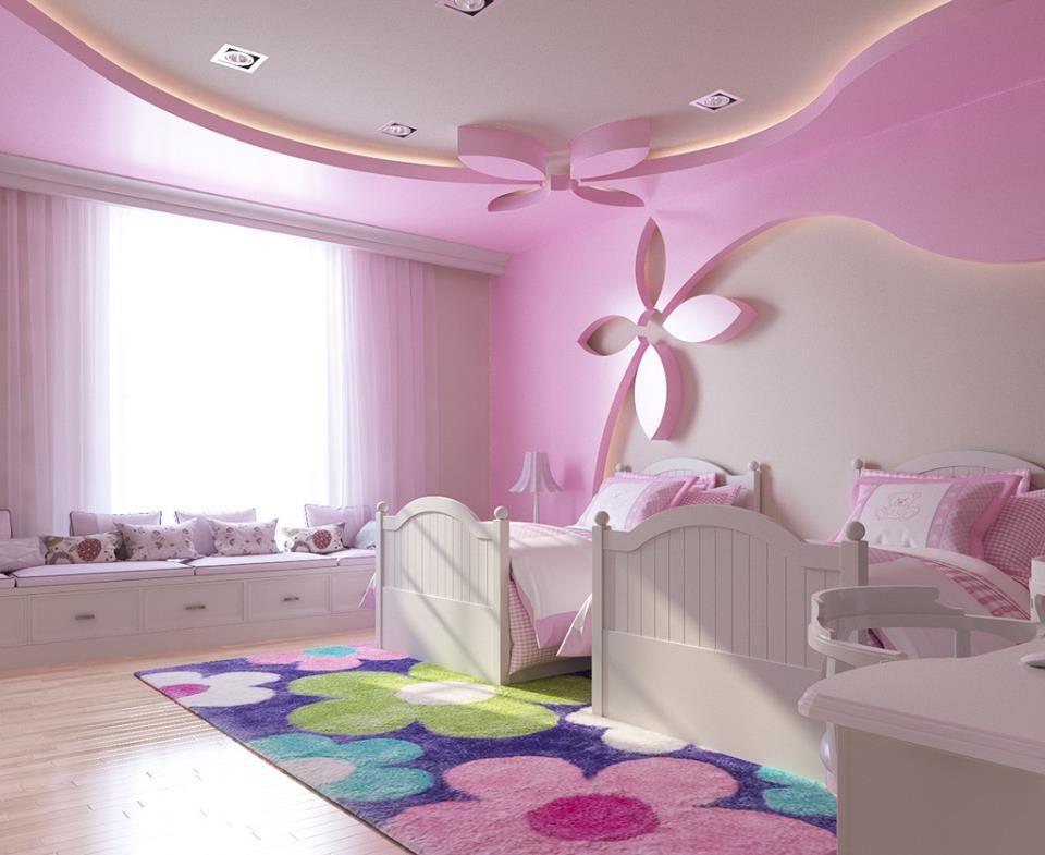 ديكورات غرف نوم وردية مع تصاميم جدران جبس رائعة Childrens Bedrooms Design Pink Bedroom Walls Light Pink Bedrooms
