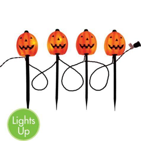 light up pumpkin garden stakes 4 12ft long 4ct party cityour light - Halloween Garden Stakes