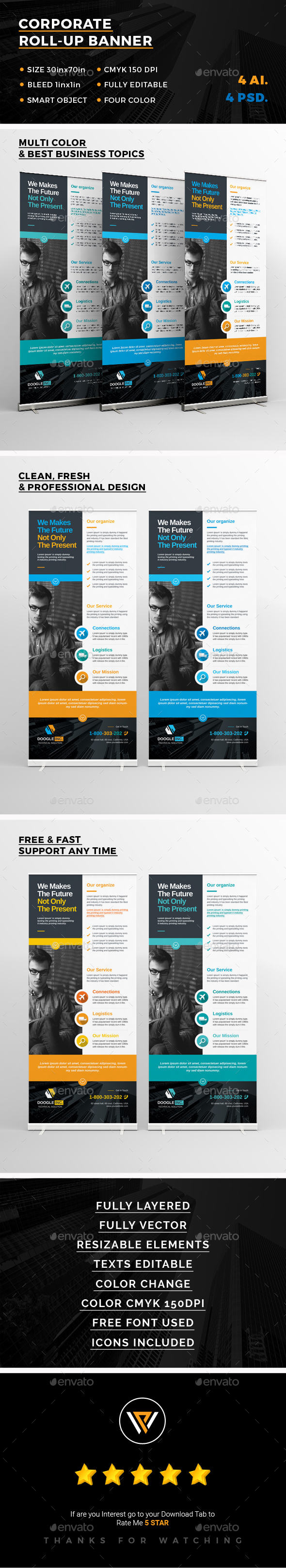 Roll-Up Banners Template PSD, AI Illustrator | Roll-Up Banner ...