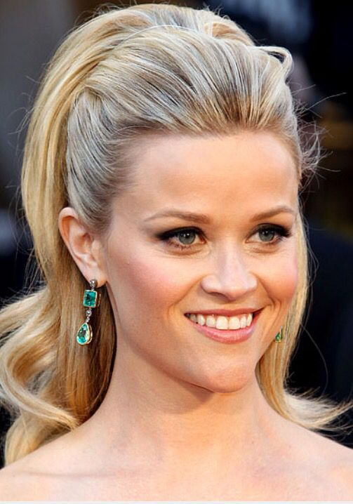 Ponytail With Beautiful Heart Shaped Face Damp Hair Styles Glamorous Wedding Makeup Reese Witherspoon Hair
