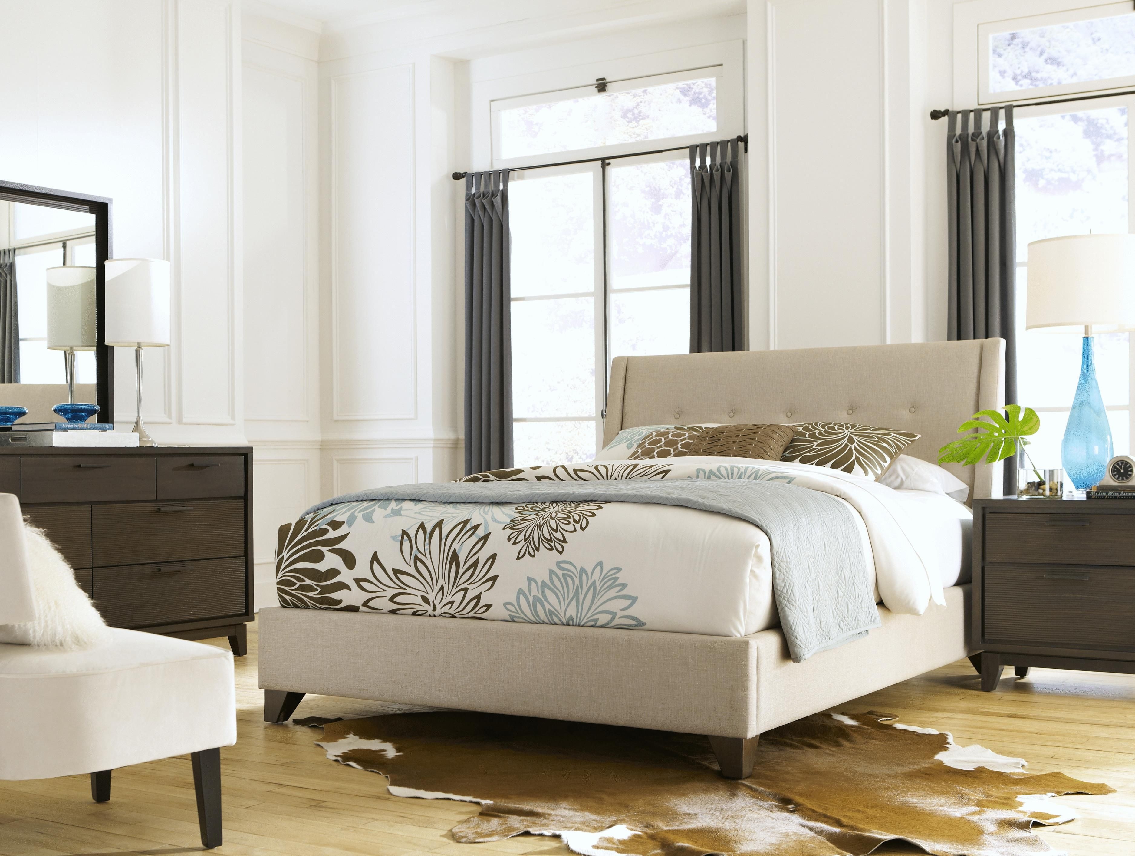 Belfort Select East Gate Upholstered Bed Queen Upholstered Bed With Button  Tufting   Belfort Furniture