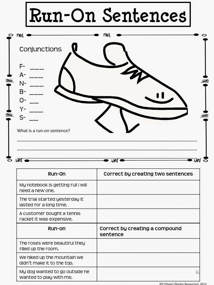Writing Mini Lesson 4 RunOn Sentences – Run on Sentences Worksheet