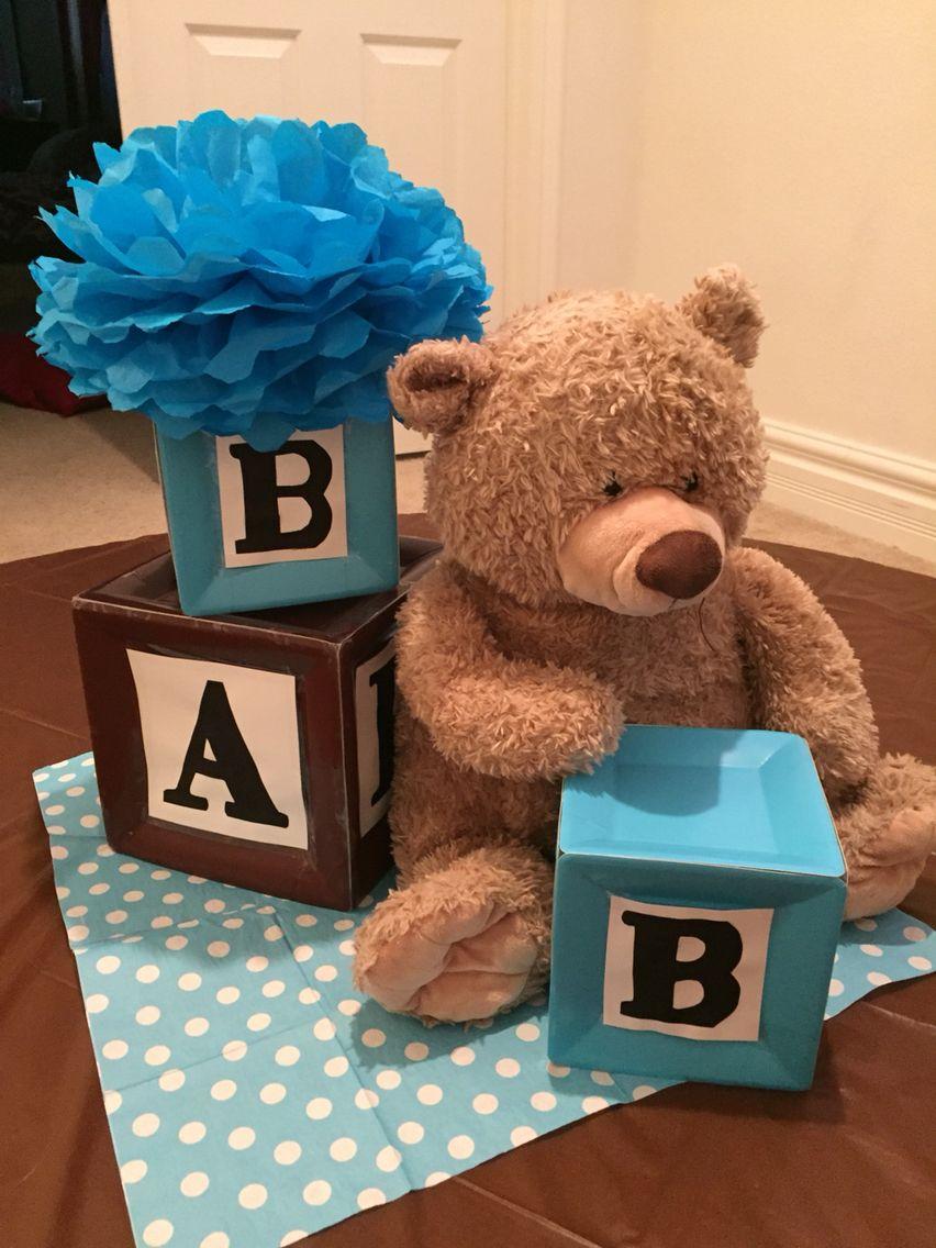 Ideas Baby Shower Nino Ositos.Alphabet Blocks And Teddy Bear Themed Centerpiece Osos
