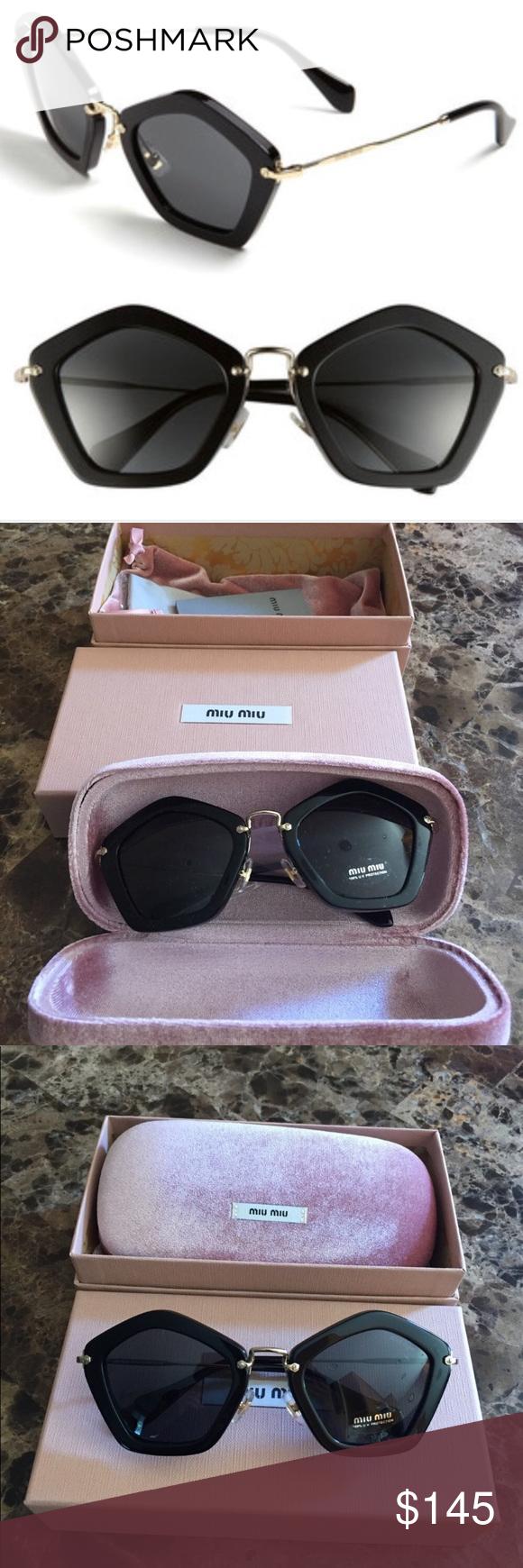 e212c8c26a7d Miu Miu Pentagon Black Frame Sunglasses Model Number  MU 06OS 1AB1A1 Frame  Color  Black Material  Metal   Plastic Style  Designer Lens Color  Gray Lens  ...