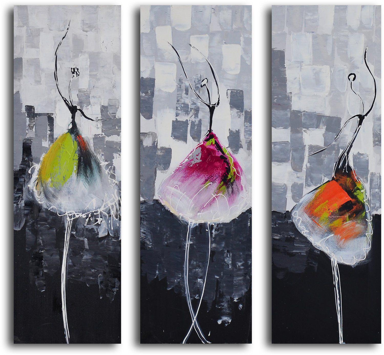 Hand Painted Tutu Trio 3 Piece Canvas Set Oil Paintings Arte Abstracto Arte Afroamericano Obras De Arte