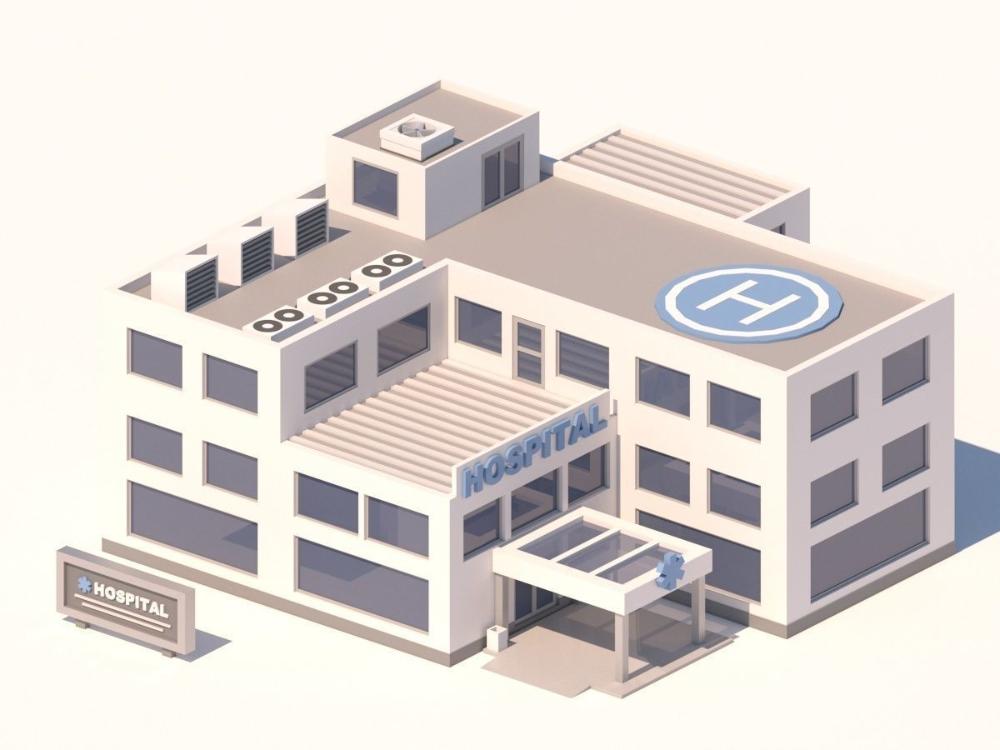 Cartoon Low Poly Hospital Building 3d Model Building Hospital Minecraft Room
