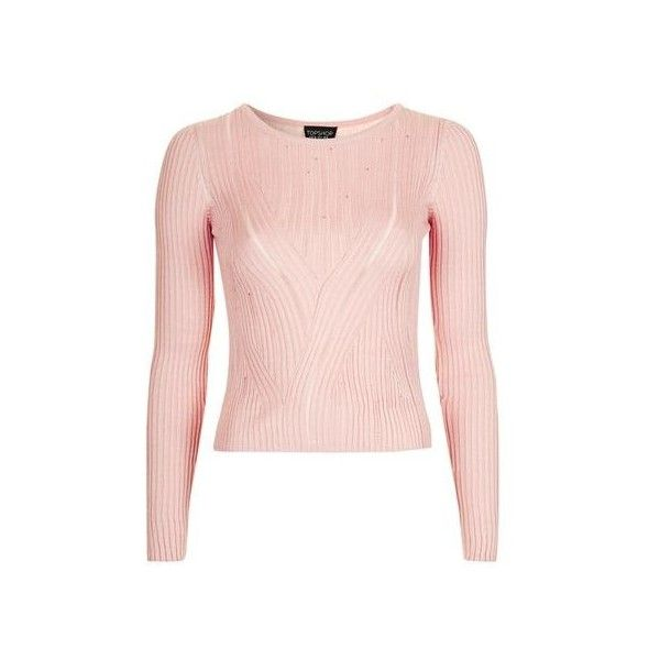 TopShop Swirl Rib Crop Top (£24) ❤ liked on Polyvore featuring tops, pale pink, crew top, topshop tops, crew neck knitwear, crew knitwear and pale pink crop top