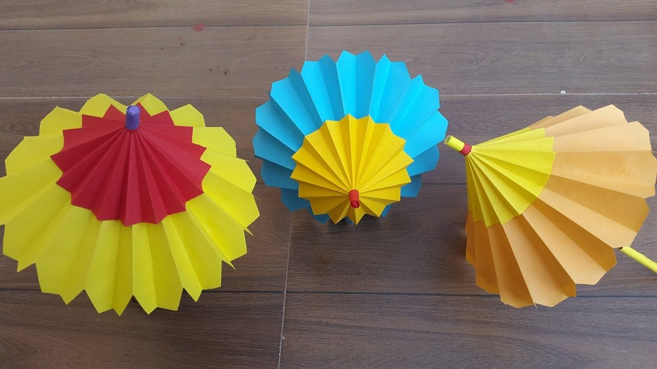 How To Make A Paper Umbrella That Open And Closes Easy Step By Step