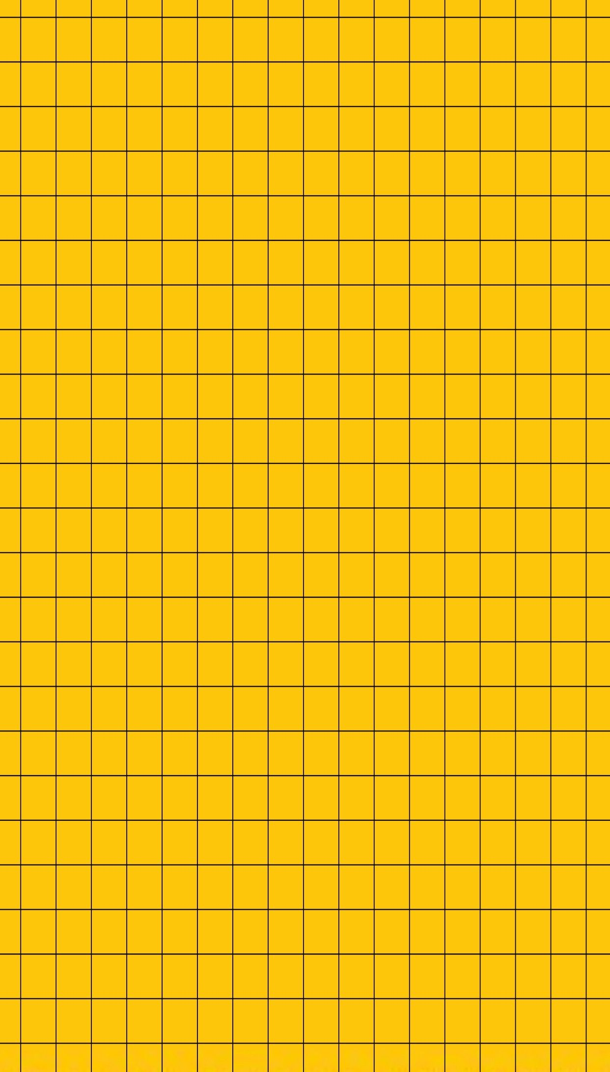 Basic Mustard Yellow And Black Grid Wallpaper Iphone