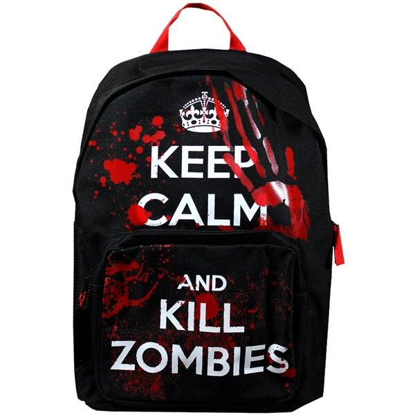 Keep Calm and Kill Zombies Backpack ($29) ❤ liked on Polyvore featuring bags, backpacks, accessories, mochilas, sacs, black backpack, knapsack bags, pattern backpack, print backpacks and black bag