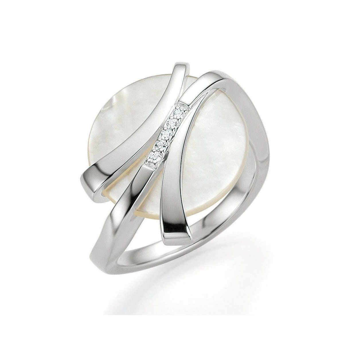 62d19b25c9562 Sterling Silver Mother of Pearl and Brilliant Diamond Ring - 41 ...