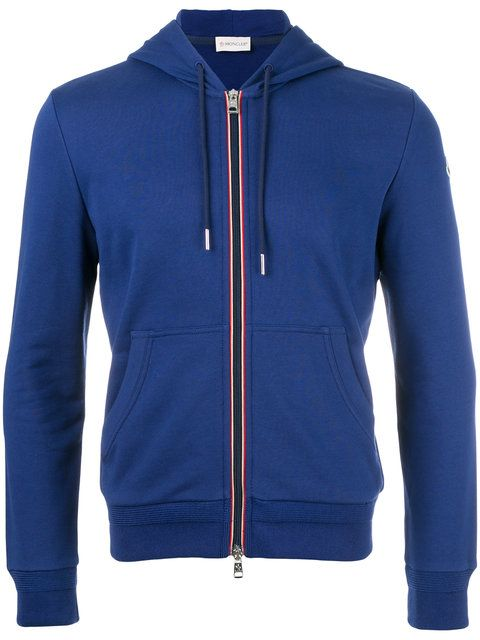 Tricolor-Trim Zip-Front Hoodie, Dark Blue | Moncler Men | Pinterest | Moncler