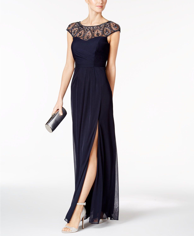 XSCAPE Embellished Faux-Wrap Gown | macys.com | David\'s Wedding ...