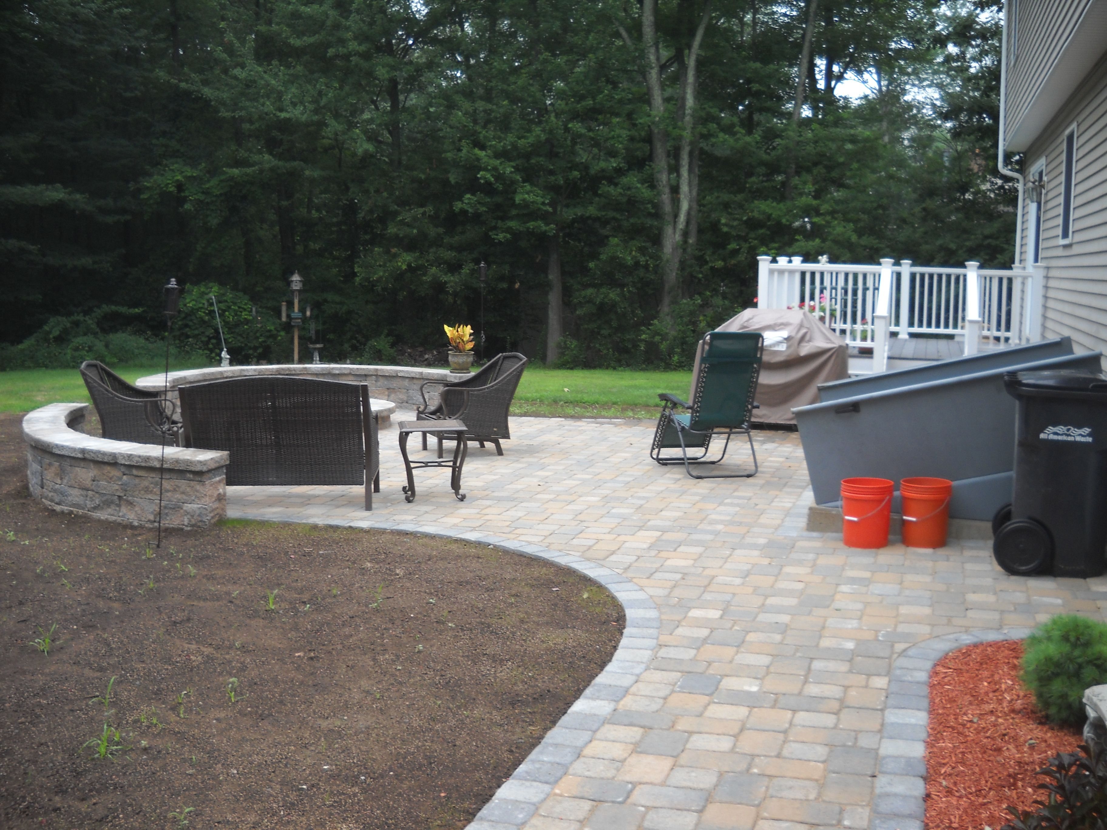 Dublin Cobble Paver Patio With Split Face West Virginia Stone Wall | Patio  | Pinterest | Stone Walls, Patios And Backyard