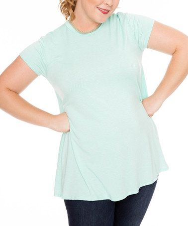 Loving this Mint Stripe Swing Top - Plus on #zulily! #zulilyfinds