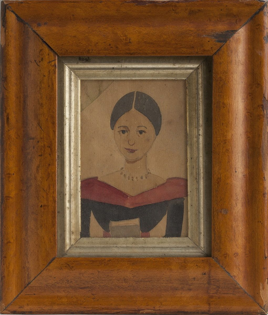 Miniature Watercolor Portrait Of A Young Woman Holding A