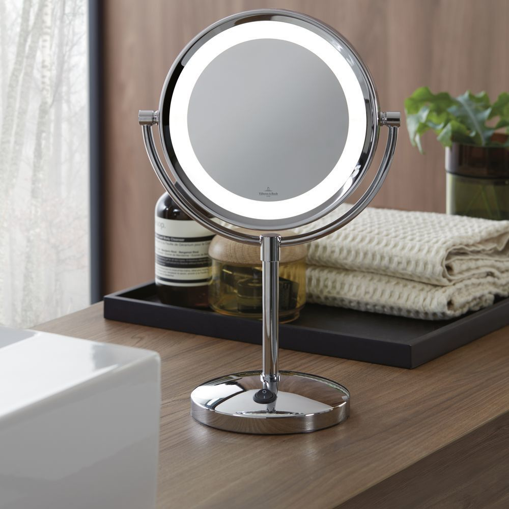 Tischleuchte London Mit Spiegel In Chrom Rund In 2020 Kosmetikspiegel Beleuchteter Kosmetikspiegel Und Spiegel