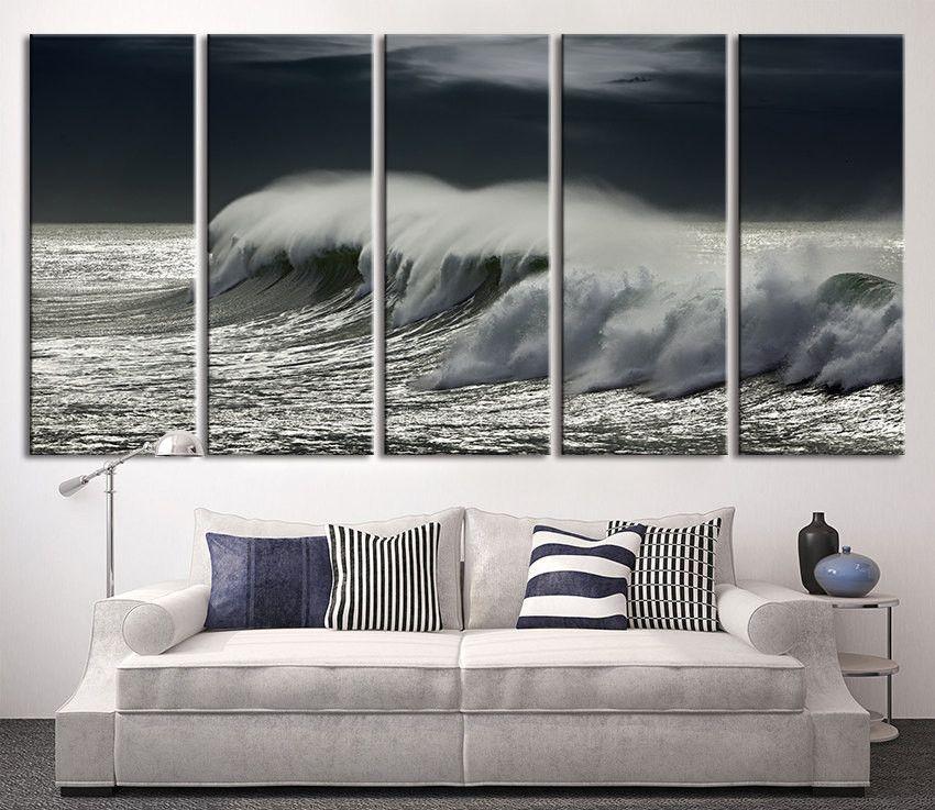 Extra Large Wall Art Black Ocean Wave, Wall Art Wave On Ocean Canvas Print,