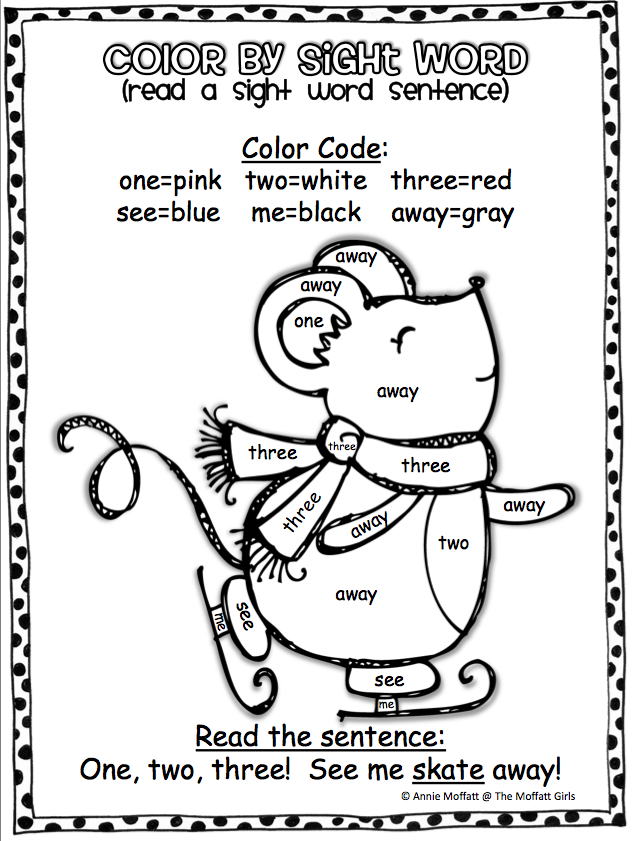 Color by sight words…and read a sight word sentence