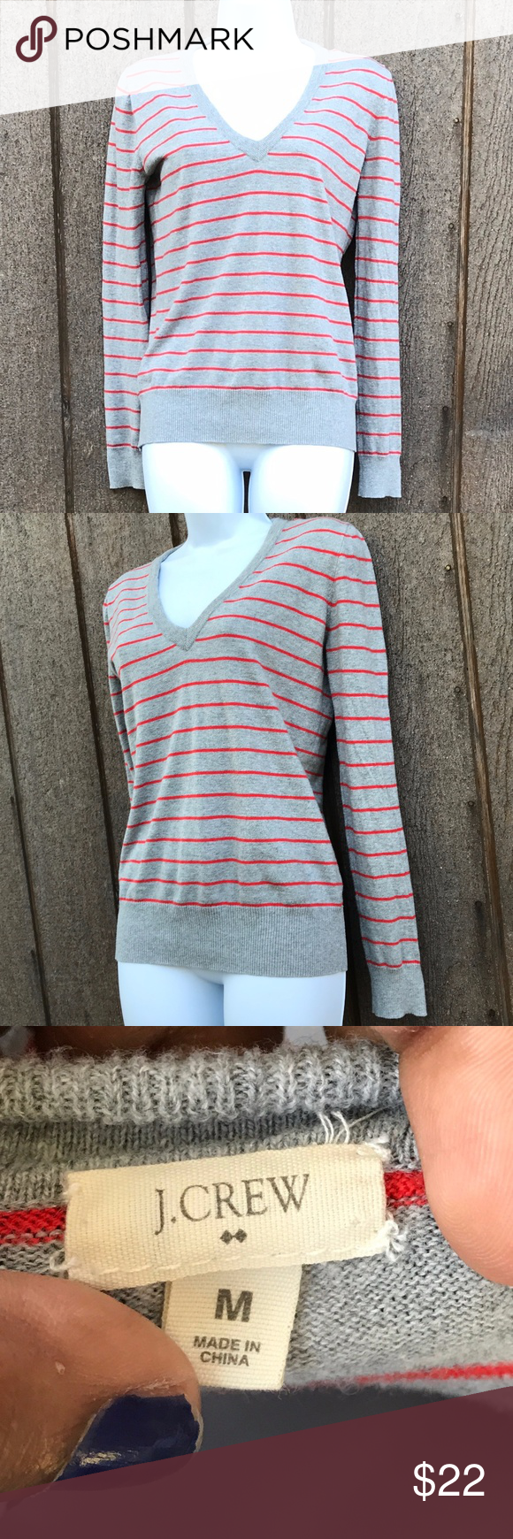 CUTE AND SIMPLE J CREW SWEATER cute orange and gray simple striped ...