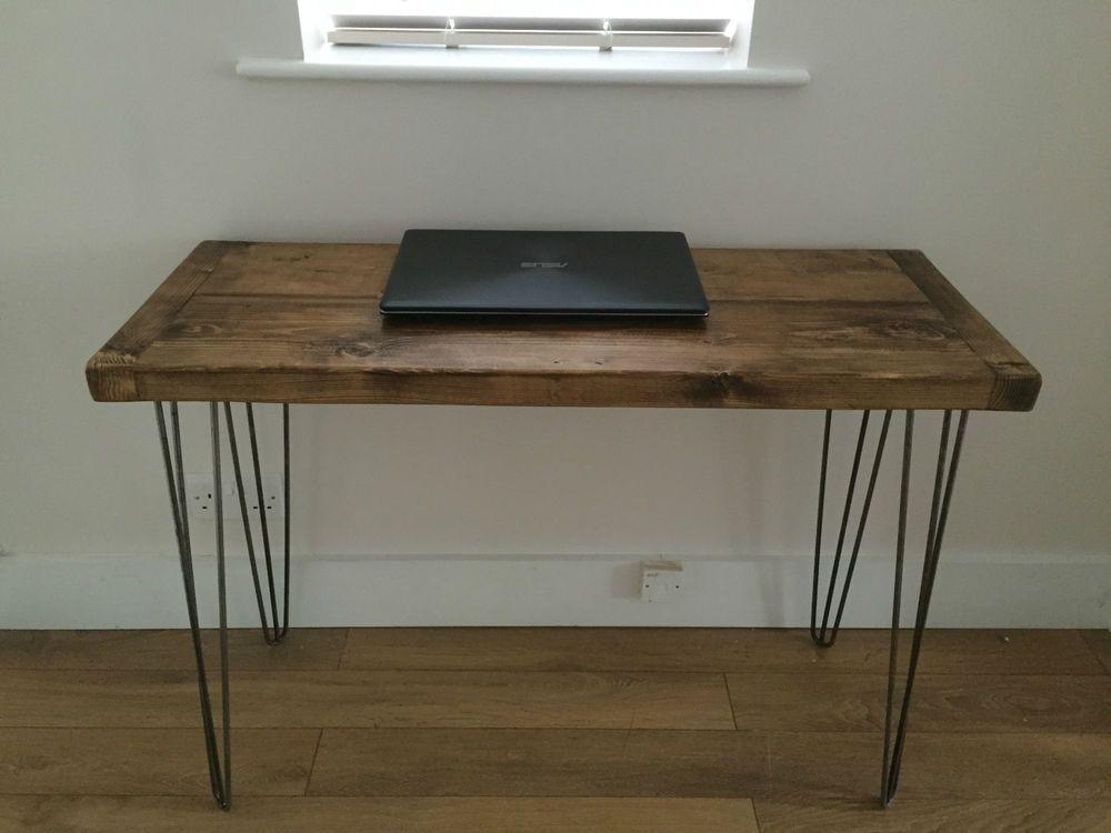 Rustic Pine Desk Solid Wood Dressing Table Metal Hairpin Legs