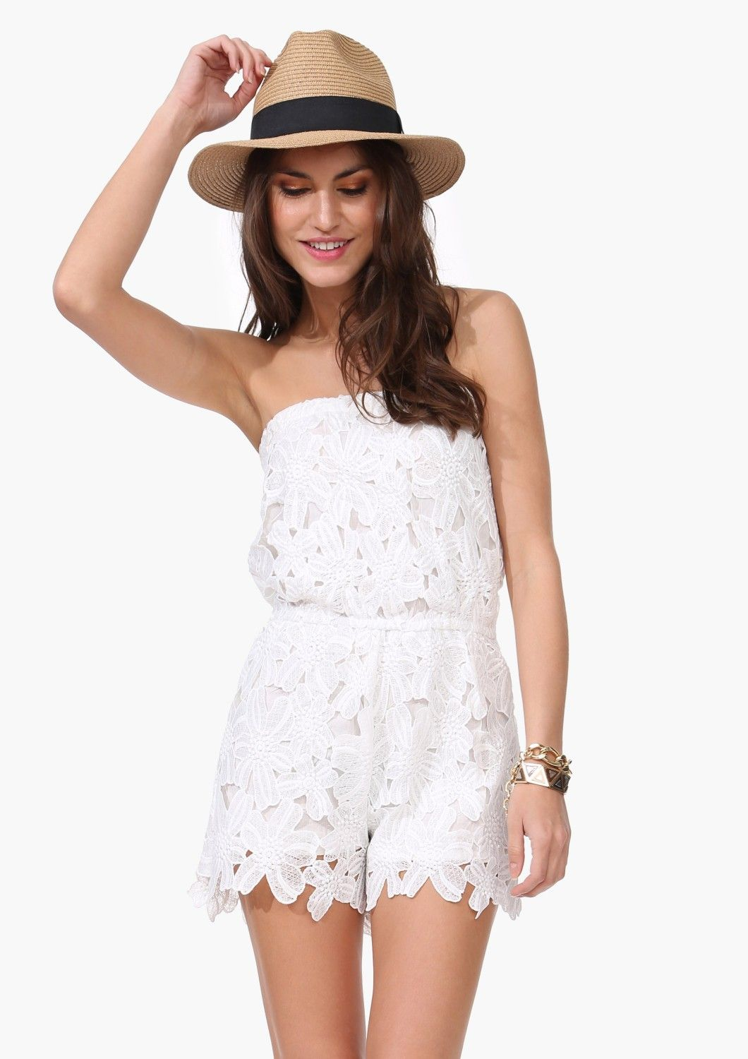 92c2e93a949 White lace romper from Necessary Clothing