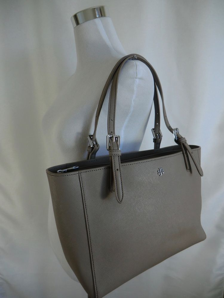 47e795b4cbd7 Tory Burch York Buckle Small Tote French Gray Saffiano Leather Bag  245  Grey  ToryBurch  TotesShoppers