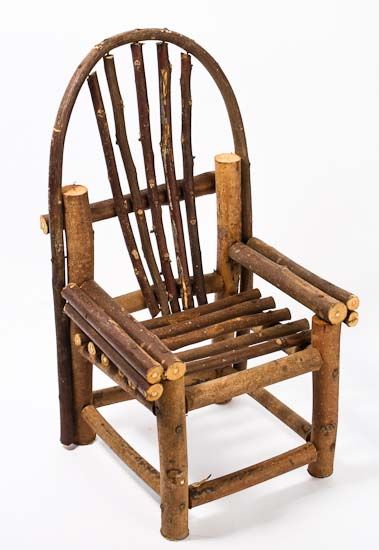 Rustic wooden mini vine twig chair fairy garden for Small wooden rocking chair for crafts