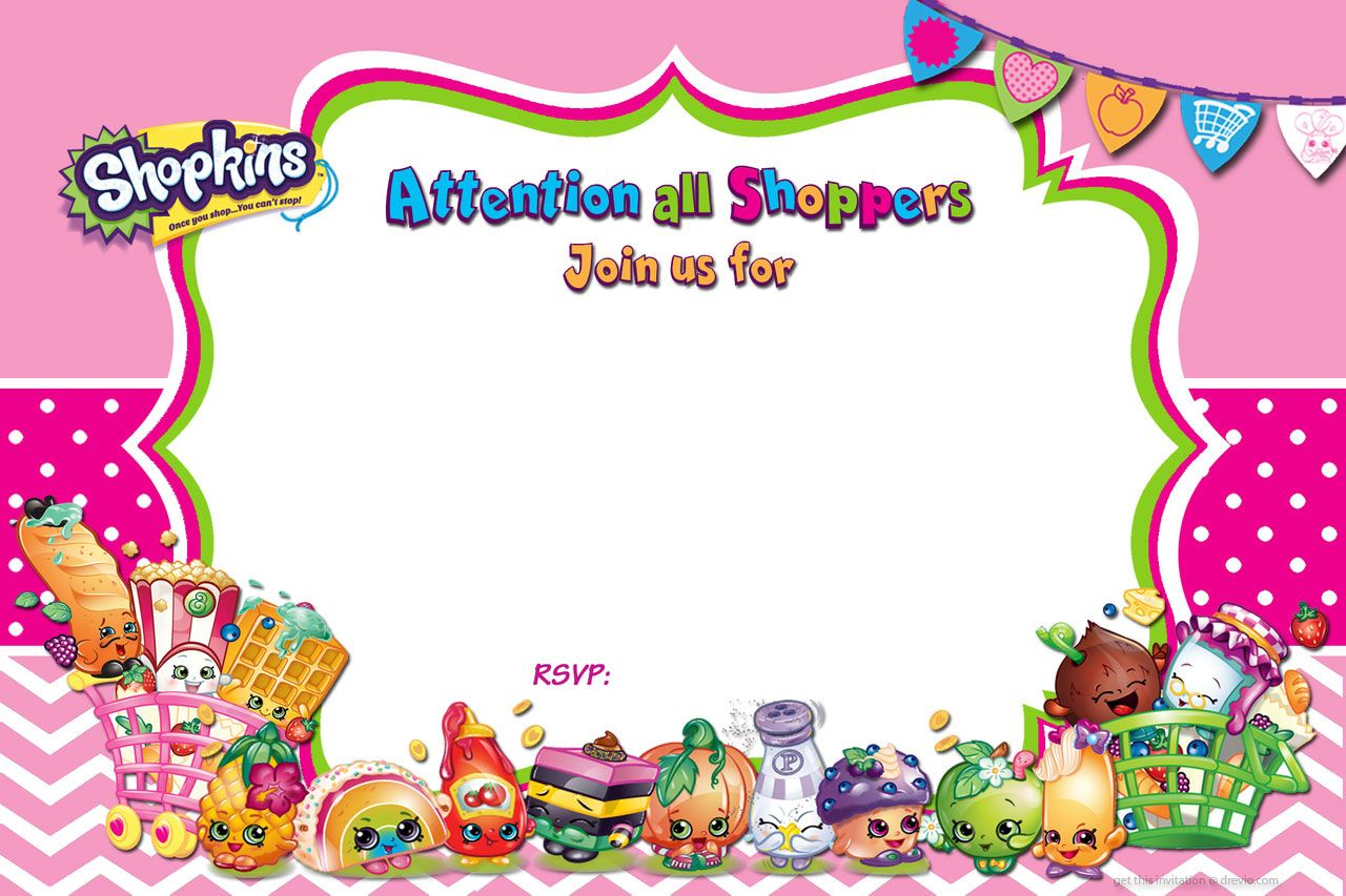 Cool FREE Printable Shopkins Birthday Invitation Template