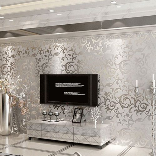 Ebay Luxury Damask Embossed Victorian Textured Nonwoven Wallpaper Roll Silver Grey Room Wallpaper Wallpaper Living Room Silver Wallpaper