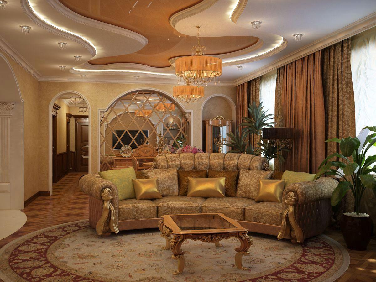 Contemporary living room interior design, amazing chandelier, lamp ...
