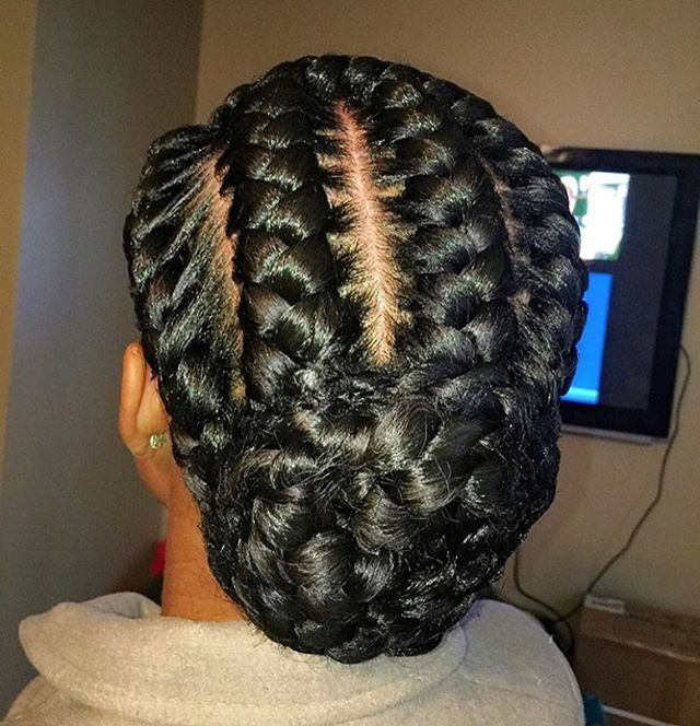 STYLIST FEATURE| Love this #goddessbraids bun styled by #STLStlkist @mzpritea ❤️ So neat #voiceofhair ✂️========================== Go to VoiceOfHair.com ========================= Find hairstyles and hair tips! =========================