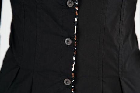 Turndown Collar Bow-Tie Half Sleeved Black Cotton Button Down Shirt