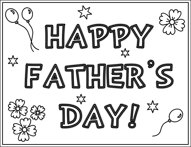 Greeting Cards For Fathers Day Coloring Picture Kids