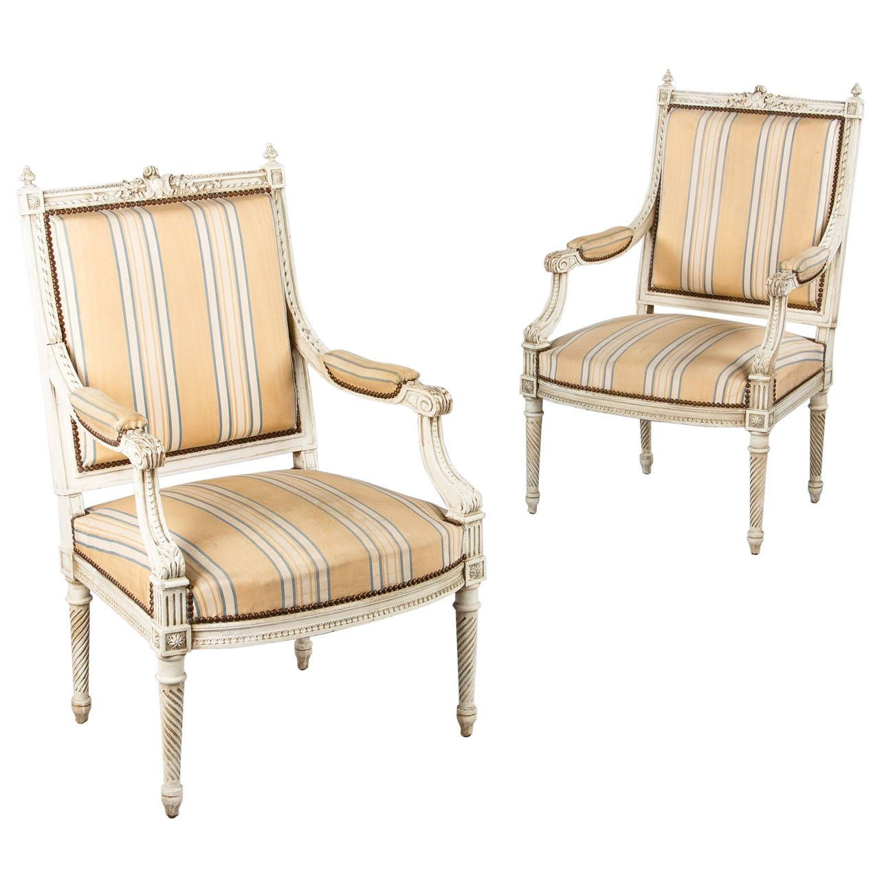 Pair of french louis xvi style painted armchairs early 1900s striped chairmodern