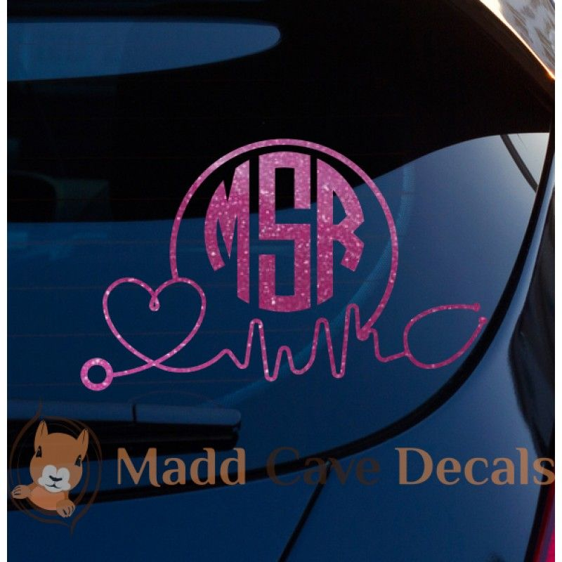 Glitter Stethoscope EKG Monogram Vinyl Decal Window Laptop Phone - Vinyl car decals for windows