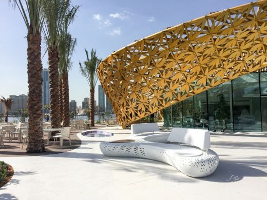 3deluxe shades the Butterfly Pavilion with a golden canopy of 4000 aluminium leaves : canopy leaves design - memphite.com