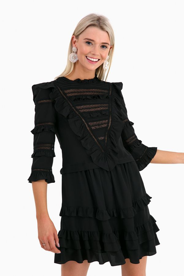 3c698bbb0295 Long Sleeve Silk and Lace Dress in Black by Rebecca Taylor - Tnuck ...