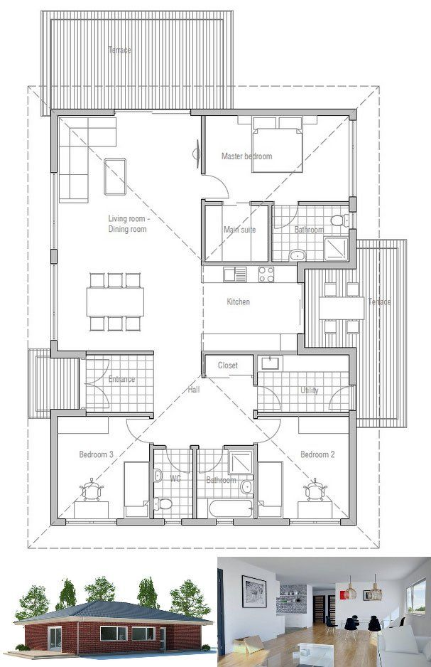 Small House Plan With Affordable Building Budget And Efficient Room Planning Three Bedrooms And Two Bathrooms House Plans Small House Plans Cottage Plan