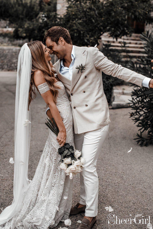 Ivory lace beach wedding dresses sweetheart neck rustic boho wedding